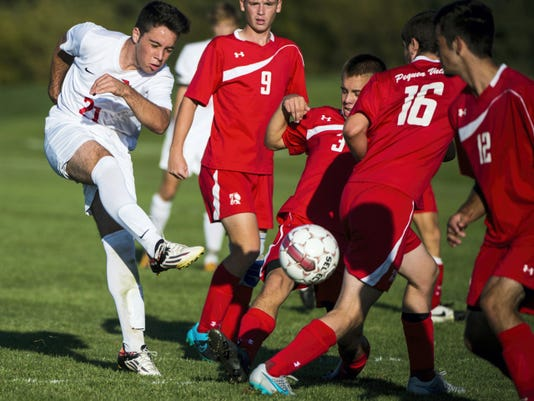 Annville-Cleona's Santiago Paris Gimeno rips a shot into traffic during the second half of the Little Dutchmen's 3-0 loss to Pequea Valley on Tuesday.