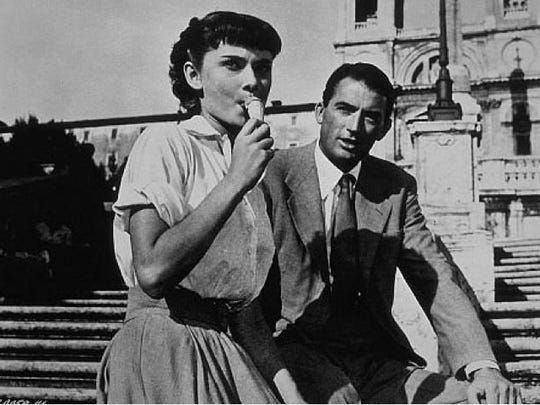 """Audrey Hepburn and Gregory Peck star in """"Roman Holiday."""""""