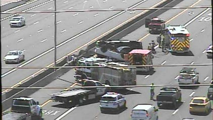 Two cars were flipped in a three vehicle collision Wednesday.