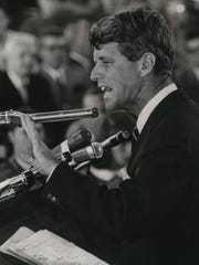 Sen. Robert F. Kennedy (D-N.Y.) speaks to a packed field house at Carthage College in Kenosha in 1966.