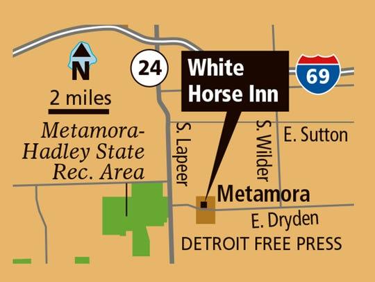 Location of White Horse Inn in Metamora, Mich.