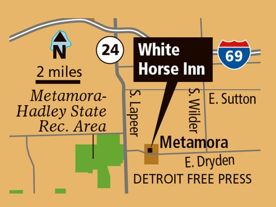 Location of White Horse Inn in Metamora, Mich.