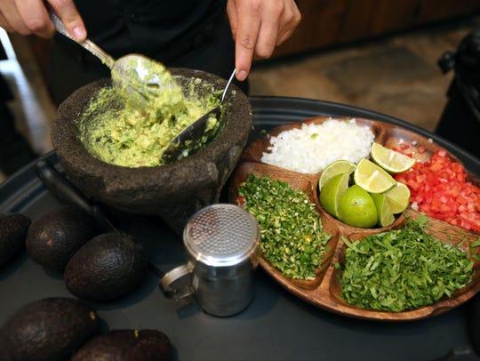 Guacamole is hand made in a molcajete at La Casona,