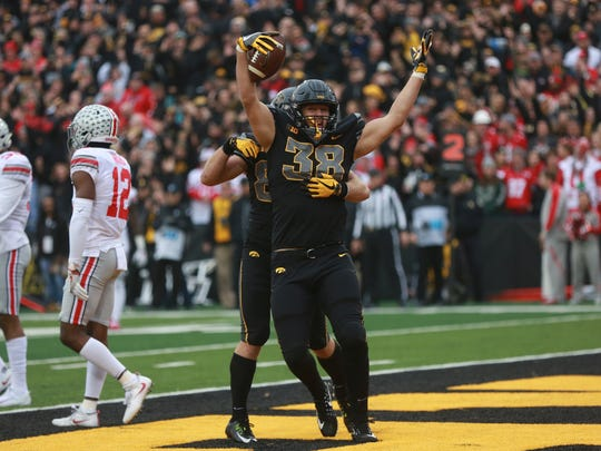 Iowa's T.J. Hockenson (38) scored two touchdowns against