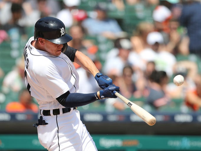 Detroit Tigers' JaCoby Jones connects for a two-run