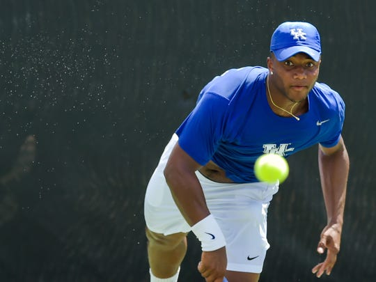 The Louisiana Ragin' Cajuns men's tennis team hosting seven of the top 35 teams in the country in the John Breaux Cajun Tennis Classic at the Culotta Tennis Center. September 23, 2016 (Pictured- William Bushamuka, University of Kentucky))