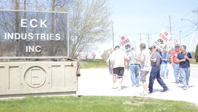Members of GMP Local 301 employed by Eck Industries went on strike recently.