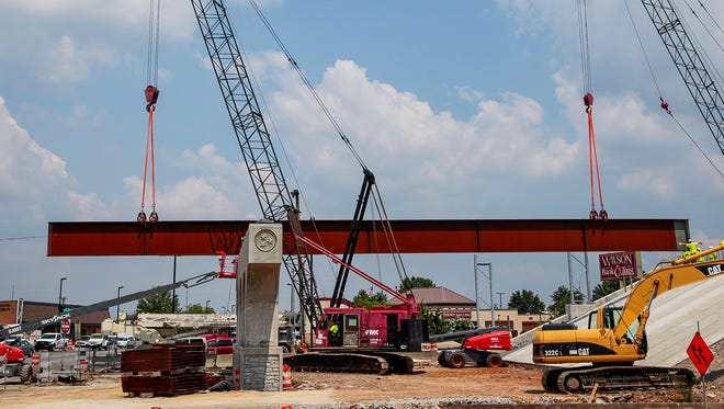 A set of steel beams for the Bridge over Broad project in Murfreesboro were manufactured in Kentucky and delivered to Rutherford County Wednesday, July 19, 2017.