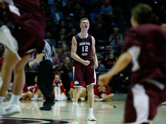 Mountain Grove's Cade Coffman celebrates after the
