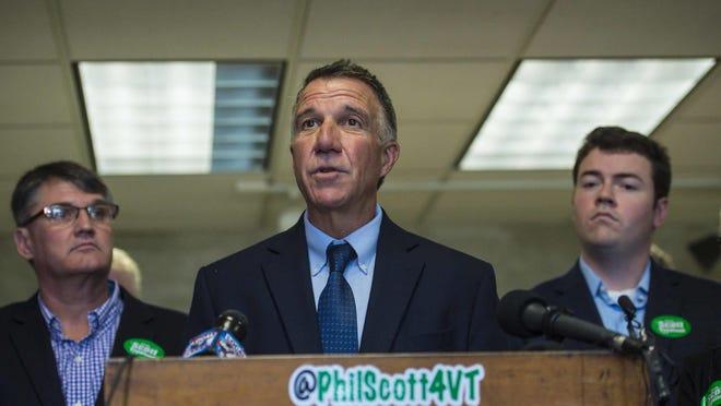 Republican gubernatorial candidate Lt. Gov. Phil Scott at a news conference in Colchester Sept. 15.