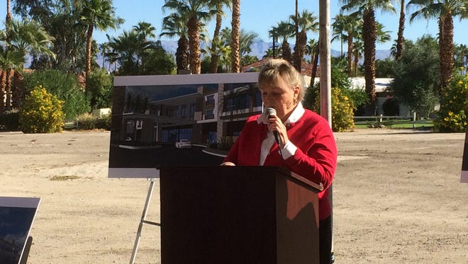 Palm Desert Mayor Susan Marie Weber speaks during Friday's groundbreaking ceremony for the first hotel to be built on El Paseo.