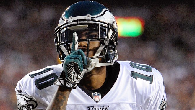 FILE - In this Sept. 9, 2013 file photo, Philadelphia Eagles wide receiver DeSean Jackson celebrates his touchdown during the first half of an NFL football game against the Washington Redskins in Landover, Md.