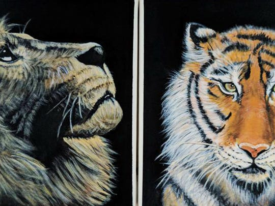 Big Cats diptych painting by Chris Riley.