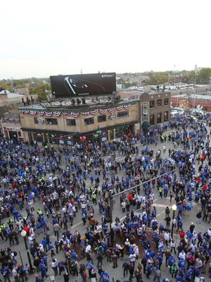 A view of Wrigleyville before Game 3 of the 2016 World Series between the Chicago Cubs and the Cleveland Indians  at Wrigley Field on Friday.
