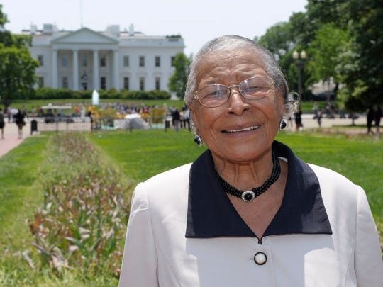 In this May 12, 2011, file photo, Recy Taylor stands in Lafayette Park after touring the White House. Taylor, a black Alabama woman whose rape by six white men in 1944 drew national attention, died Thursday, Dec. 28, 2017, according to her brother Robert Corbitt. She was 97.