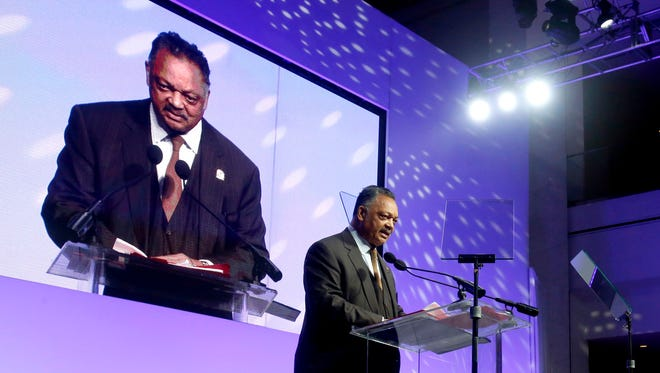 Rev. Jesse Jackson gives the keynote address during the Let Freedom Ring event in the atrium of Cobo Center in downtown Detroit on Monday, Jan. 15, 2018.