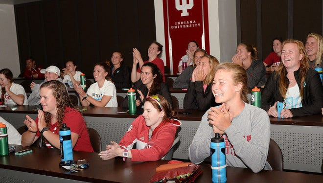 The Indiana Univeristy women's rowing team learns it's an at-large selection in the NCAA championship on May 19, 2015.