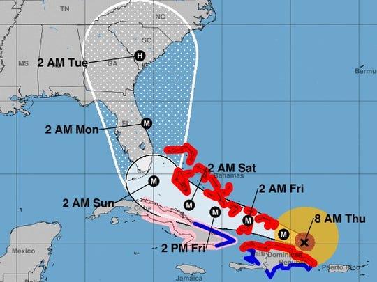 The projected path of Hurricane Irma, as of 8 a.m. Thursday.