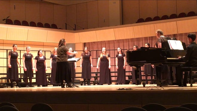Members of Farmington High School's Poison Ivy choir perform at the New Mexico Activities Association state choir competition on April 13-14 in Rio Rancho.