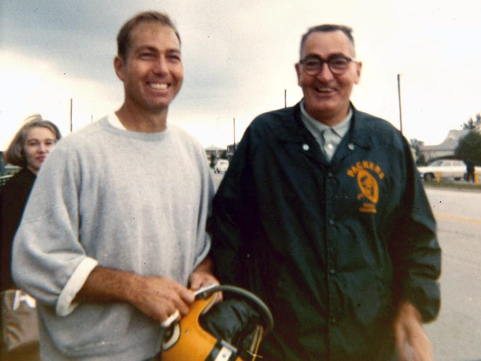 Green Bay Packers quarterback Bart Starr and his father Ben Starr.