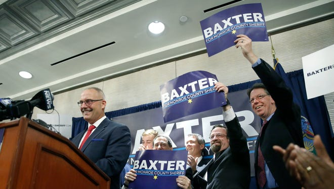 Former Greece Police Chief and former Veterans Outreach Center executive director Todd Baxter announces his candidacy for Monroe County Sheriff at the Airport Marriott.