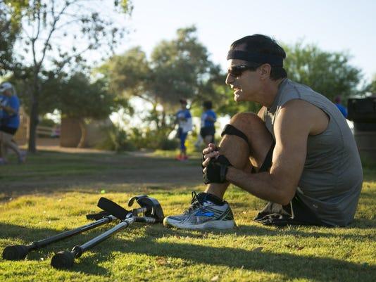 Cancer Survivor run one leg