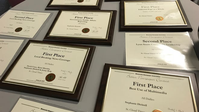Awards from the 2016-2017 Minnesota Newspaper Association Better Newspaper Contest awards ceremony Jan. 25, 2018 in Bloomington.