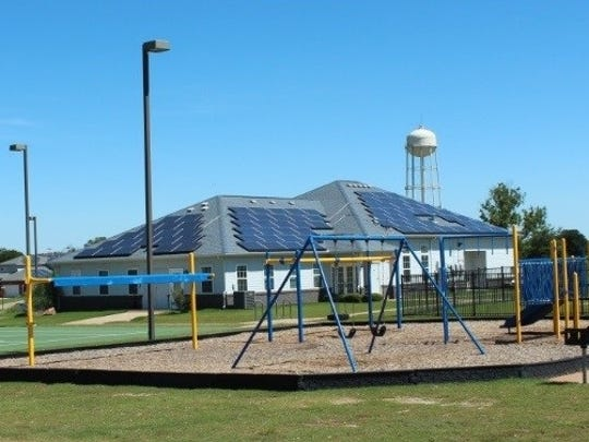 In this file photo, solar panels are seen on a Balfour Beatty-owned housing community at Sheppard Air Force Base. The city of Wichita Falls approved a contract to continue providing municipal services for about 600 units of SAFB housing.