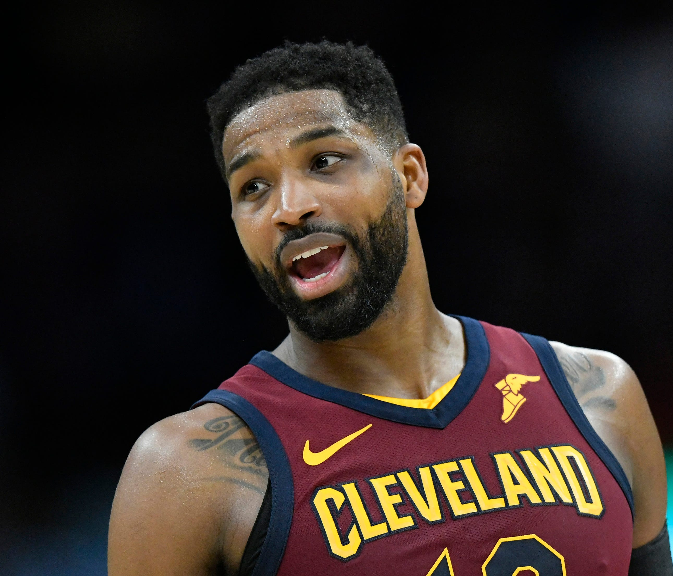 Apr 11, 2018; Cleveland, OH, USA; Cleveland Cavaliers center Tristan Thompson (13) reacts in the fourth quarter against the New York Knicks at Quicken Loans Arena. Mandatory Credit: David Richard-USA TODAY Sports ORG XMIT: USATSI-363439 ORIG FILE ID: