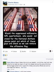 """One of the posts on West York Mayor Charles Wasko's Facebook page that some borough council members says has them """"disturbed"""" and """"outraged."""""""
