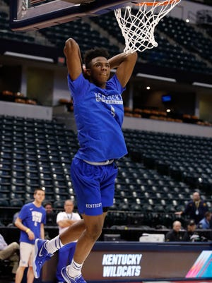 Kentucky Wildcats guard Hamidou Diallo during practice the day before the first round of the 2017 NCAA Tournament at Bankers Life Fieldhouse on March 16.