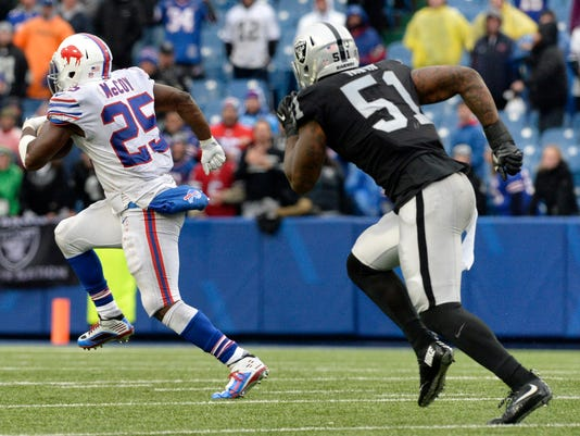 Buffalo Bills running back LeSean McCoy (25) takes off for a long touchdown run as Oakland Raiders outside linebacker Bruce Irvin (51) tries to catch him during the second half of an NFL football game, Sunday, Oct. 29, 2017, in Orchard Park, N.J. (AP Photo/Adrian Kraus)