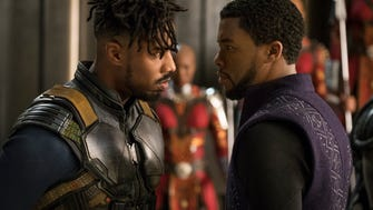 Michael B. Jordan and Chadwick Boseman face off in 'Black Panther.'
