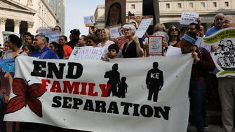 NEW YORK, NY - JUNE 01:  Hundreds of immigrant rights advocates and others participate in rally and and demonstration at the Federal Building in lower Manhattan against the Trump administration's policy that enables federal agents to take migrant children away from their parents at the border on June 1, 2018 in New York, United States. In coordinated marches across the country people are gathering outside U.S. Immigration and Customs Enforcement (ICE) field offices, U.S. attorney's offices, and the Deparment of Justice headquarters in Washington, D.C., to put increasing pressure on the Trump administrationÕs family separation policy at the border.  (Photo by Spencer Platt/Getty Images) ORG XMIT: 775171063 ORIG FILE ID: 965624208
