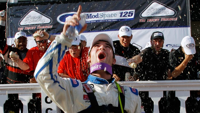 Corey LaJoie, celebrating after winning an ARCA Series race at Pocono Raceway on Aug. 2, is the son of former NASCAR Busch Series champion Randy LaJoie.