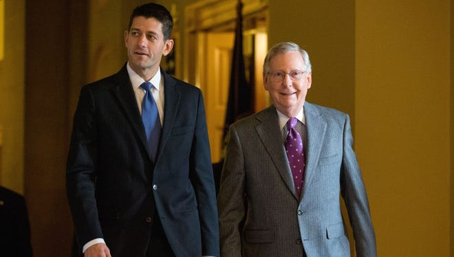 House Speaker Paul Ryan of Wis., left, and Senate Majority Leader Mitch McConnell walk to a Senate Republican policy luncheon on Capitol Hill in Washington, Tuesday, Nov. 3, 2015.