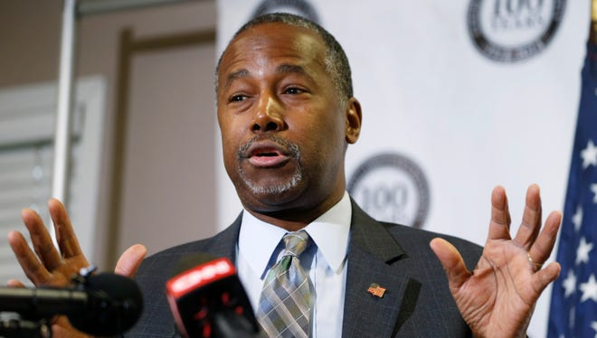Republican presidential candidate Ben Carson gestures during a campaign stop on Oct. 29, 2015, in Lakewood, Colo.