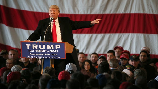 Donald Trump speaks in Rochester Sunday.