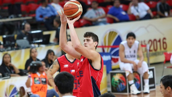 CSU redshirt freshman center Nico Carvacho puts up a shot against Bolivia in the 2016 FIBA South American Championships