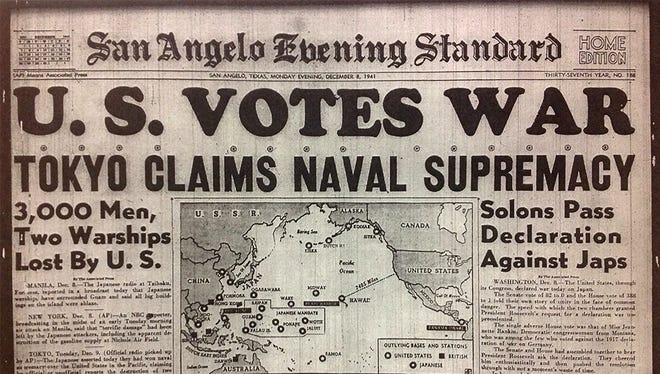 The front page of the San Angelo Evening Standard as it appeared on December 8, 1941.