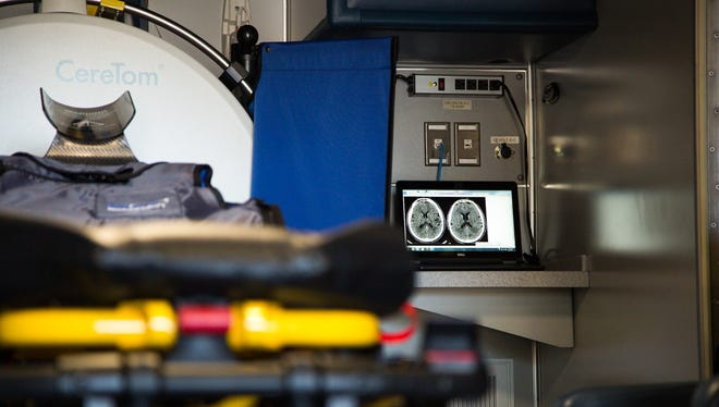 Inside Barrow's mobile stroke-treatment truck, nurses and technicians can share scans and other medical information with doctors before the patient even arrives. The vehicle debuted June 14, 2017, and should be on the road in July.