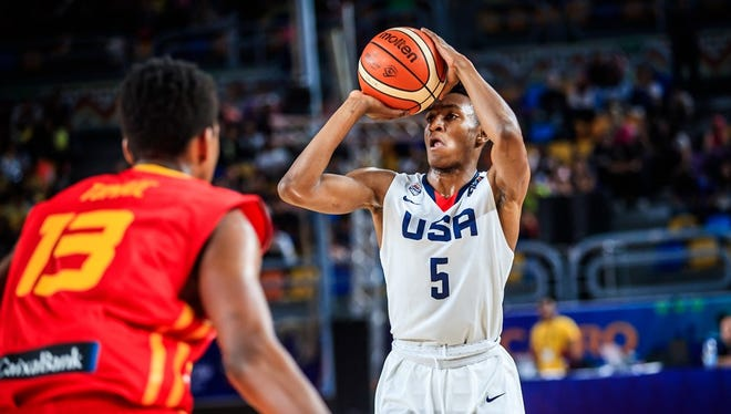 Team USA point guard Immanuel Quickley shoots in a game against Spain during the FIBA World Cup in Cairo Egypt on July 8, 2017.