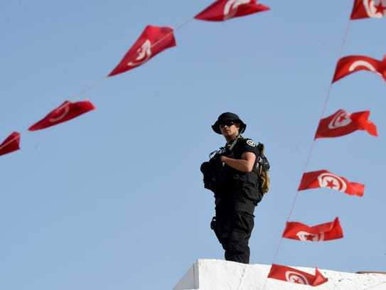 A member of the Tunisian special forces stands guard