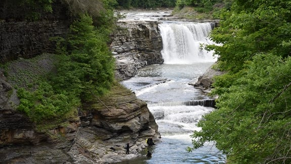 Lower Falls in Letchworth State Park, which spans Livingston and Wyoming counties in New York