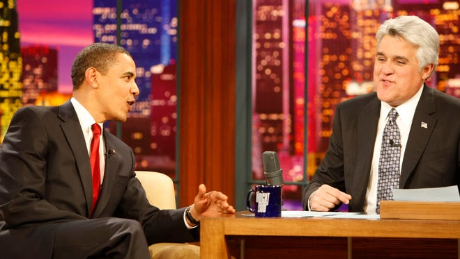 "Barack Obama, with ""Tonight Show"" host Jay Leno in 2009, is the first sitting president to go on a late entertainment show."