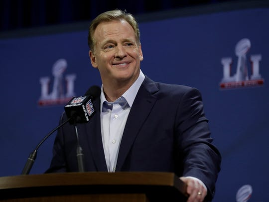 NFL Commissioner Roger Goodell answers questions during a news conference during preparations for NFL Super Bowl 51.