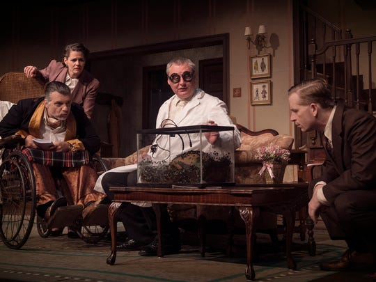 """The """"Man"""" cast includes, from left, Jeff Catanese as Sheridan Whiteside, Christy Montesdeoca as Maggie Cutler, George Heard as Professor Metz and John Preston Mendenhall as Beverly Carlton."""