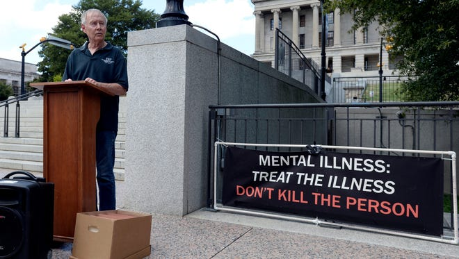 Charles Strobel speaks against the death penalty and planned execution of Billy Ray Irick during a demonstration at Legislative Plaza Tuesday, August 7, 2018, in Nashville, Tenn. The protesters plan to deliver two petitions with more than 62,000 signatures urging Gov. Bill Haslam to intervene and stop the execution.