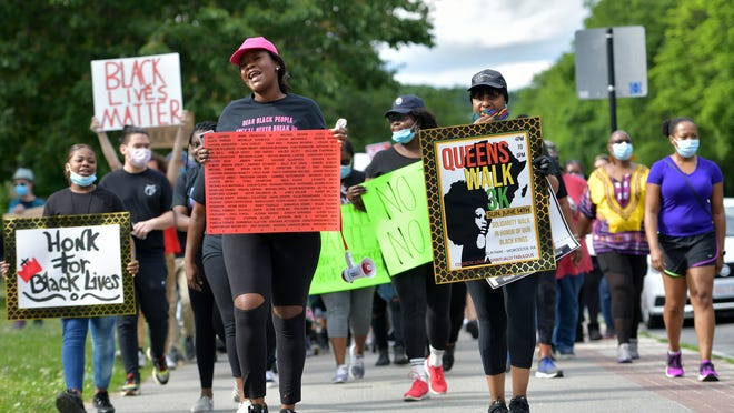 WORCESTER - Tricia Bryan and Michelle Memnon organized the Queens Walk, a solidarity walk in honor of Black men, on Sunday. About 100 people gathered at Elm Park for a 3K march around the perimeter of the park.