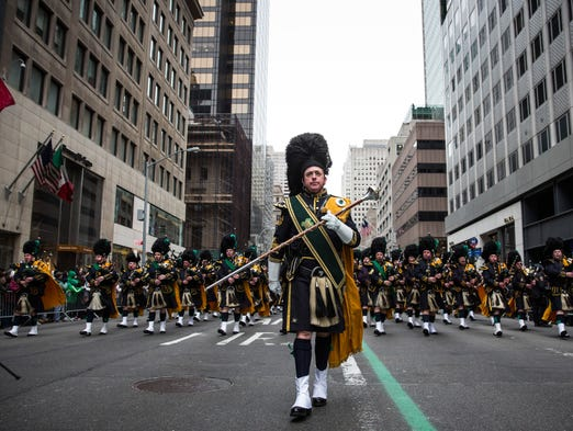 Bagpipers play in the annual St. Patrick's Day parade along Fifth Avenue in Manhattan on March 17. Political controversy surrounded this year's parade, as New York City Mayor Bill de Blasio decided not to march due to the parade organizers' policy to ban participants that identify themselves as lesbian, gay, bisexual or transgender.